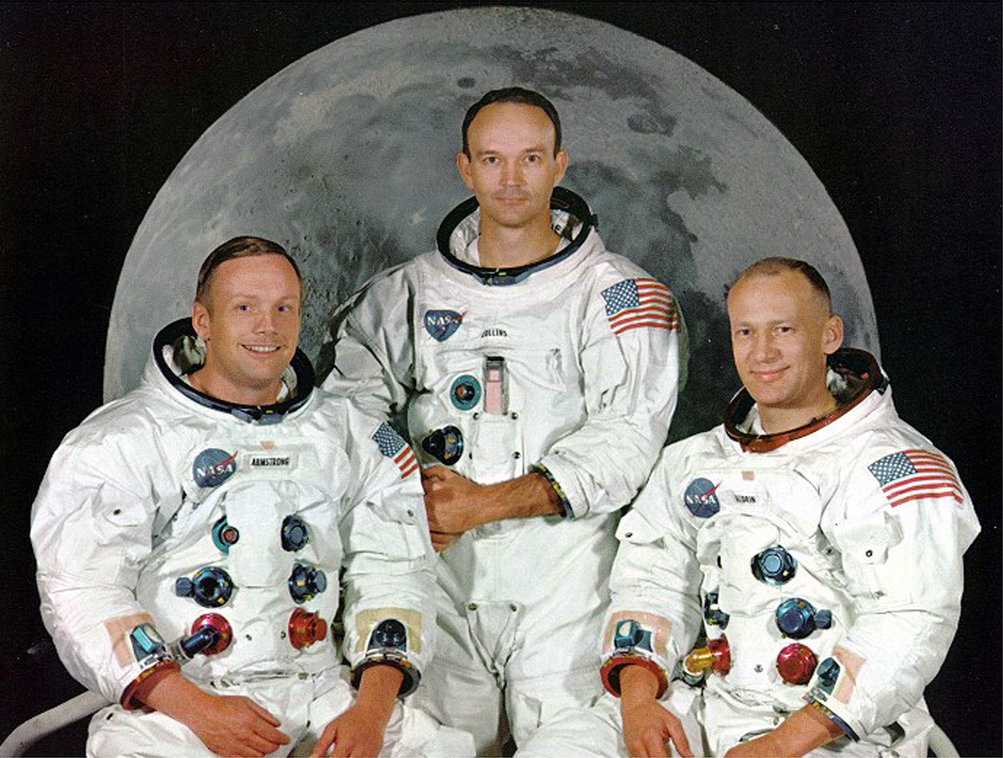 "- UNDATED FILE PHOTO - Apollo 11 astronauts (L-R) Neil Armstrong, Michael Collins and Edward ""Buzz A.."